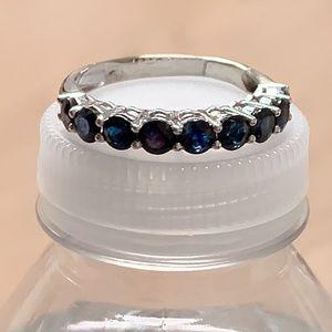 18K White Gold Genuine Sapphire Ring Size 8